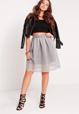 Mesh Full Skater Skirt Black