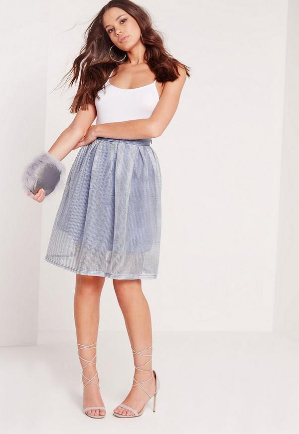 Mesh Full Skater Skirt Blue