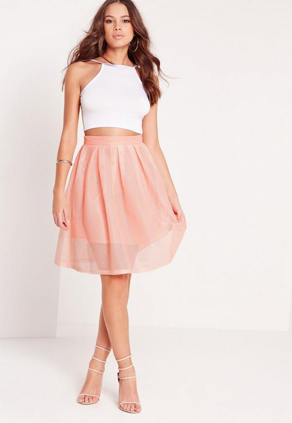 Mesh Full Skater Skirt Pink