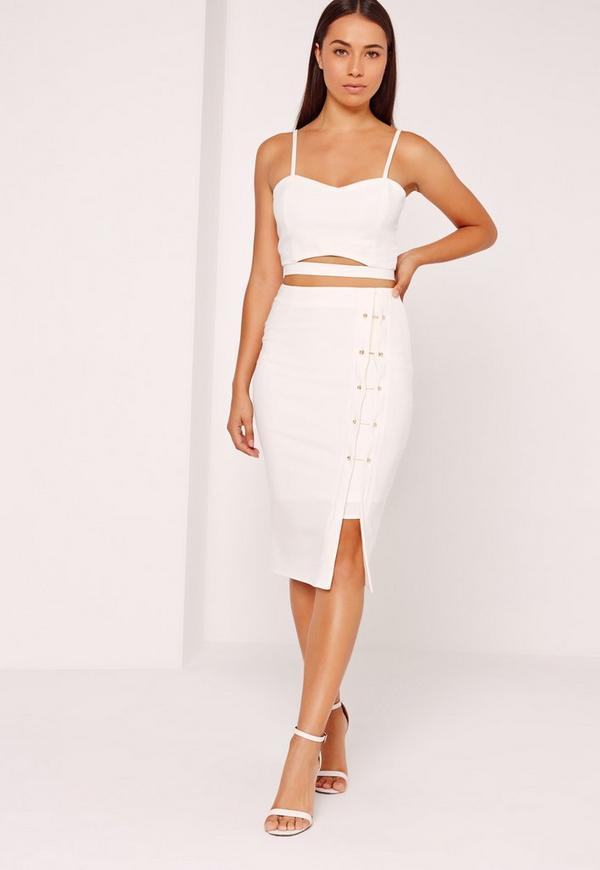 Crepe Bar Detail Skirt Cream