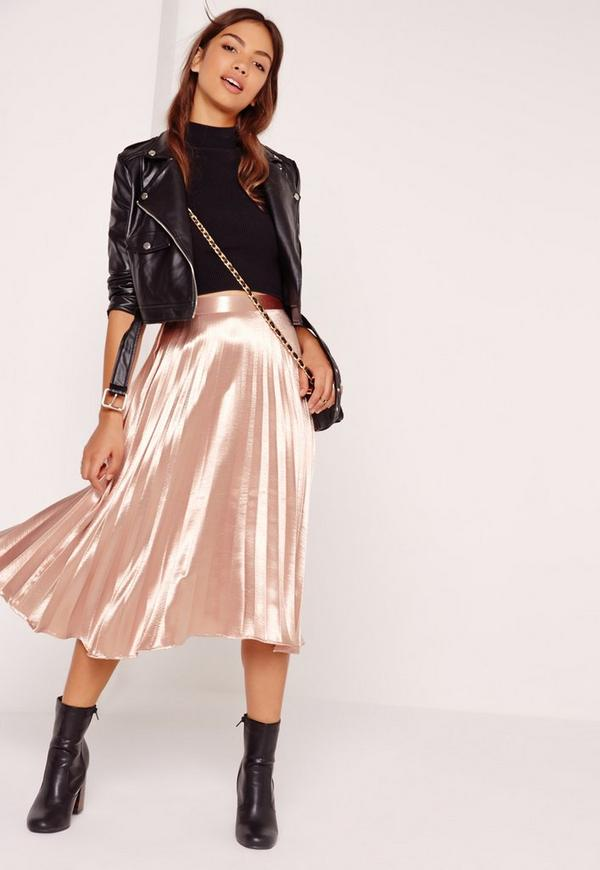 Full Pleated Midi Skirt Rose Gold