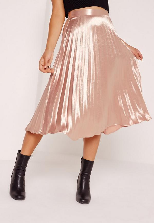 Full Pleated Midi Skirt Rose Gold Missguided