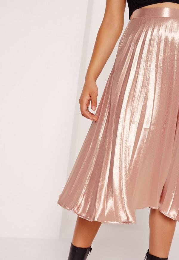 Full Pleated Midi Skirt Rose Gold | Missguided