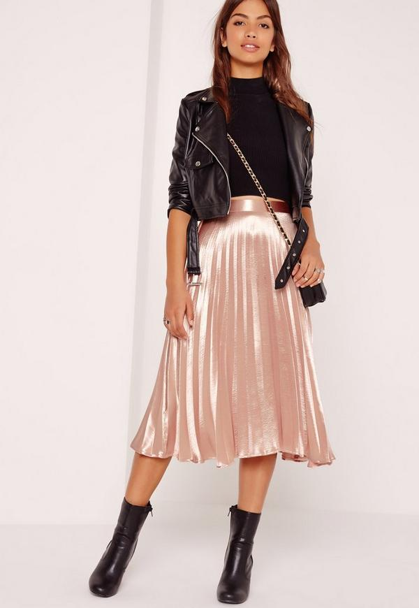 Full Pleated Midi Skirt Rose Gold | Missguided