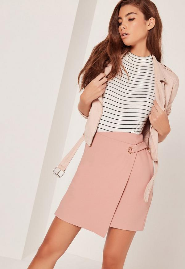 Eyelet Aysmmetric Wrap Skirt Pink