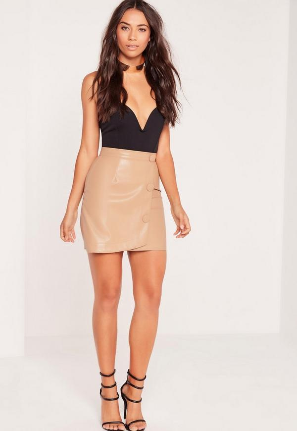 Button Detail Asymmetric Faux Leather Skirt Nude | Missguided