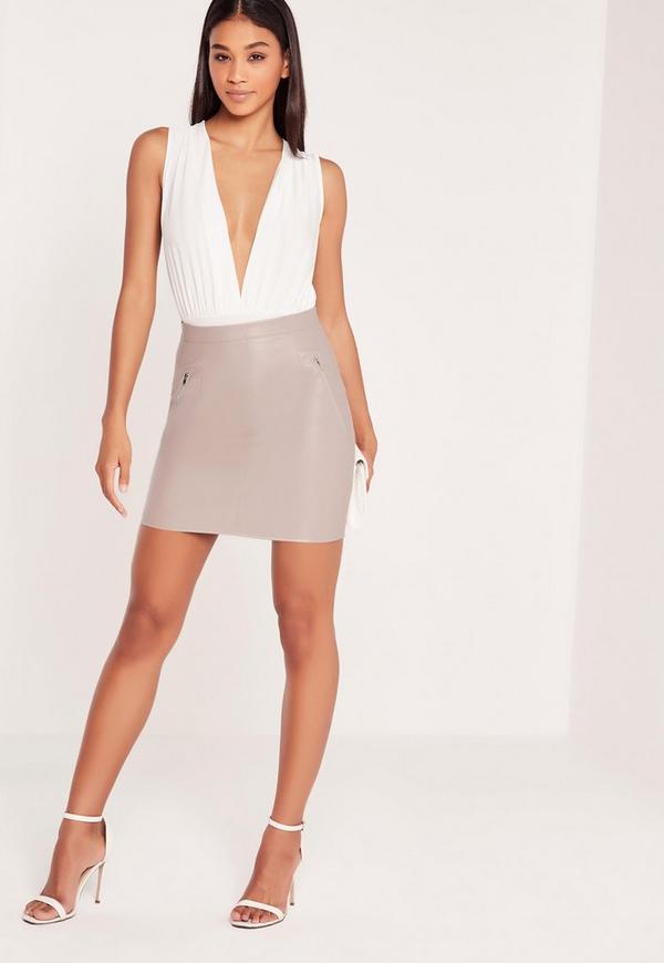 Double Zip Pocket Faux Leather Mini Skirt Grey