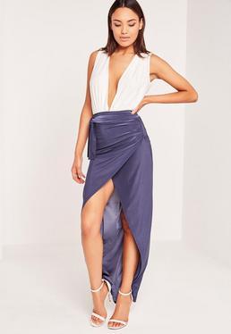Slinky Tie Wrap Maxi Skirt Blue