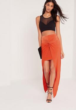 Knot Front Slinky Maxi Skirt Orange