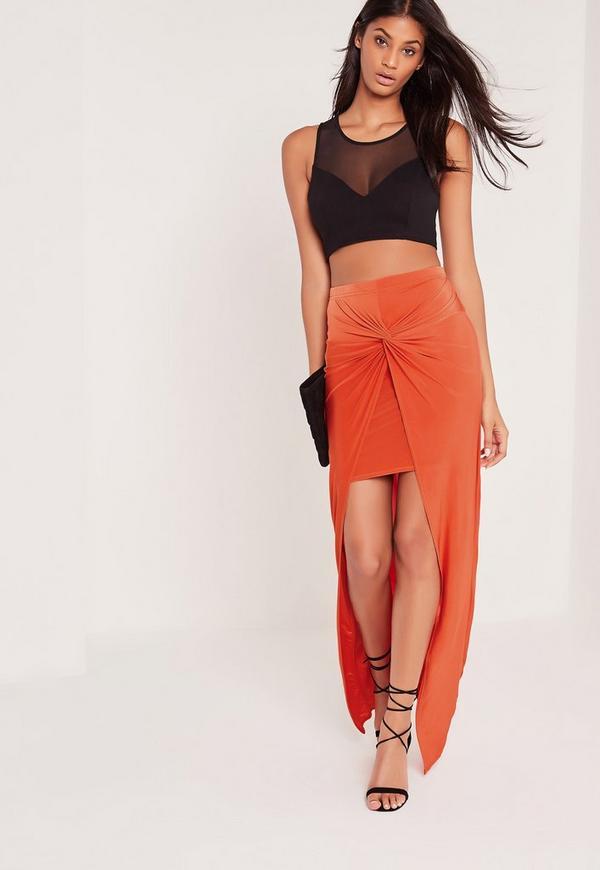 Knot Front Slinky Maxi Skirt Orange