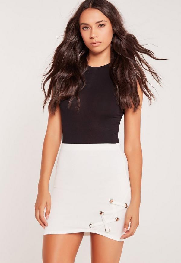 Eyelet Side Lace Up Mini Skirt White