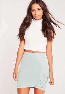 Eyelet Side Lace Up Mini Skirt Green