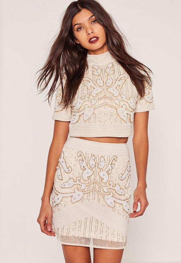 All Over Embellished Pearl A Line Skirt Nude