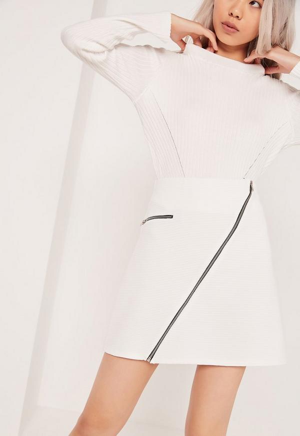 A Line Ribbed Zipped Mini Skirt White