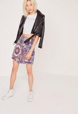 Paisley Print A Line Scuba Skirt Multi