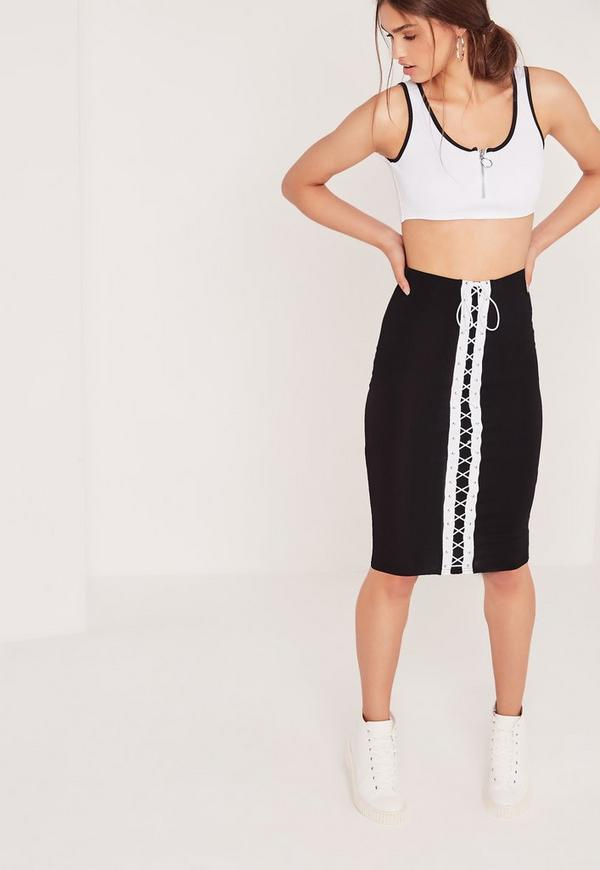 Eyelet Lace Up Front Front Midi Skirt Black
