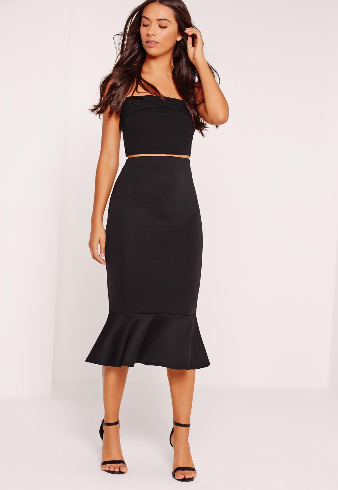 Peplum Hem Scuba Midi Skirt Black | Missguided