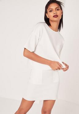 Pocket A Line Skirt White