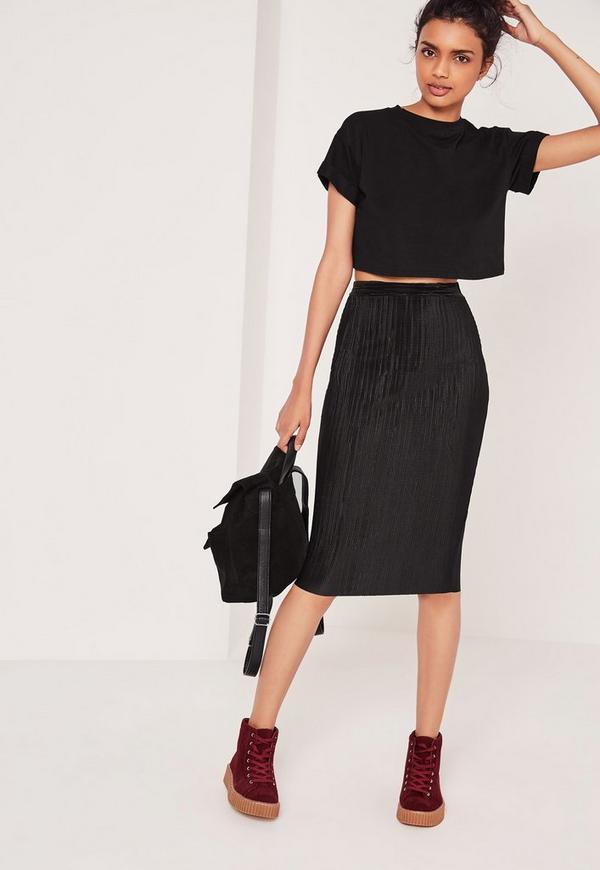 Crinkle Midi Skirt Black