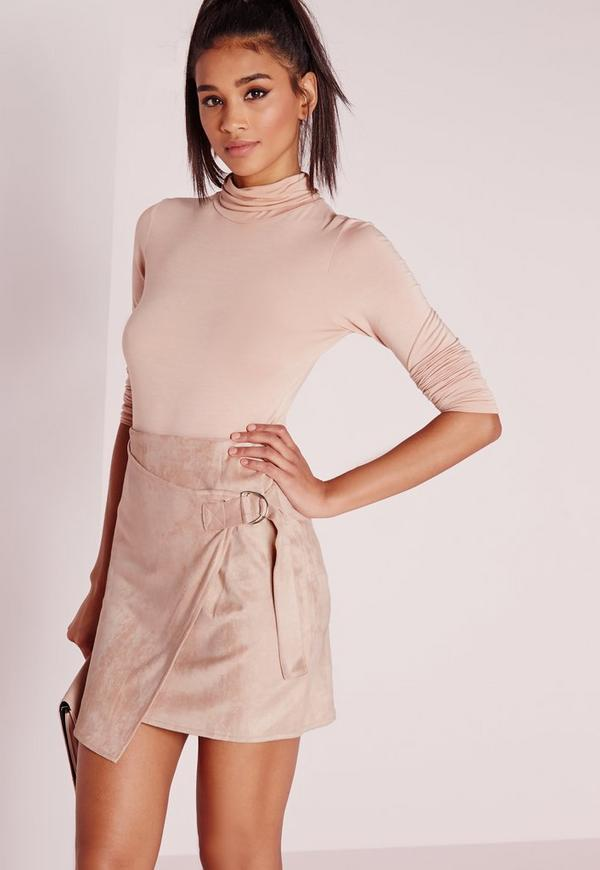 D-Ring Faux Suede Wrap Mini Skirt Taupe