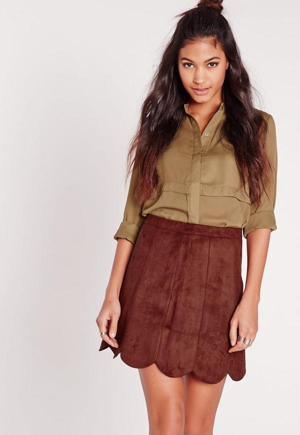 Faux Suede Scalloped Hem Skirt Dark Tan