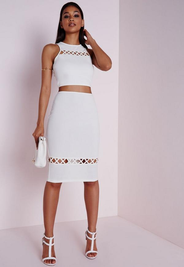 Lattice Hem Detail Midi Skirt White
