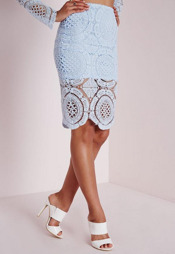 crochet midi skirt pale blue missguided