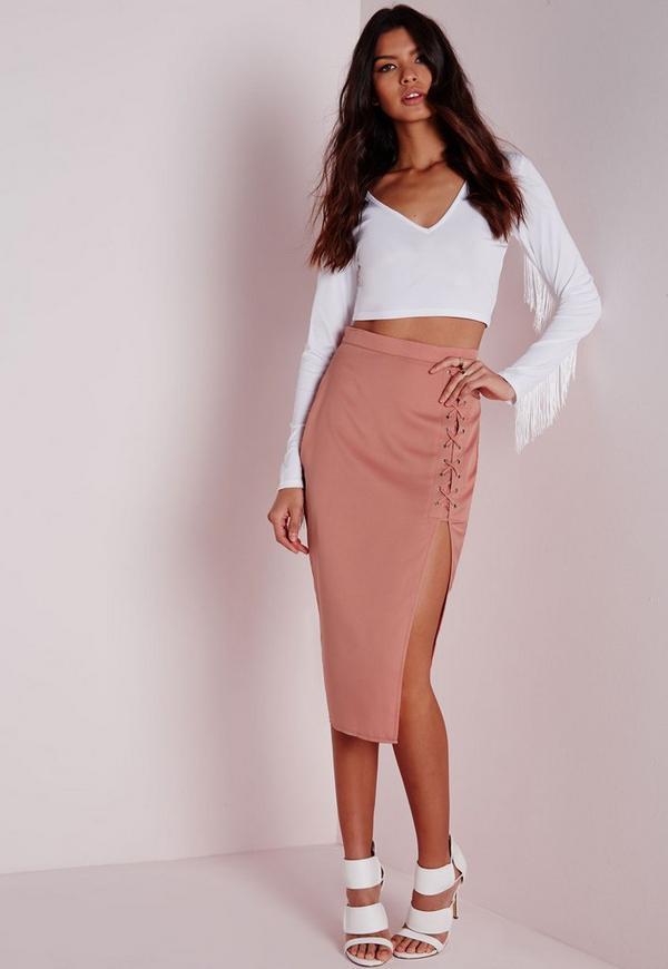 Lace Up Split Longline Midi Skirt Pink