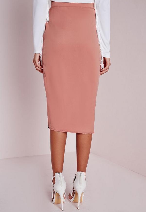 lace up split longline midi skirt pink missguided