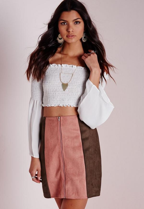Patch Work Faux Suede A Line Mini Skirt Mauve