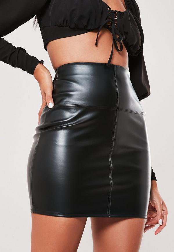 Faux Leather Mini Skirt Black | Missguided