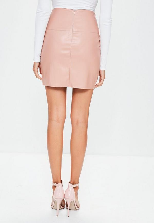 Faux Leather Mini Skirt Nude - Faux - Leather - Skirts - Missguided