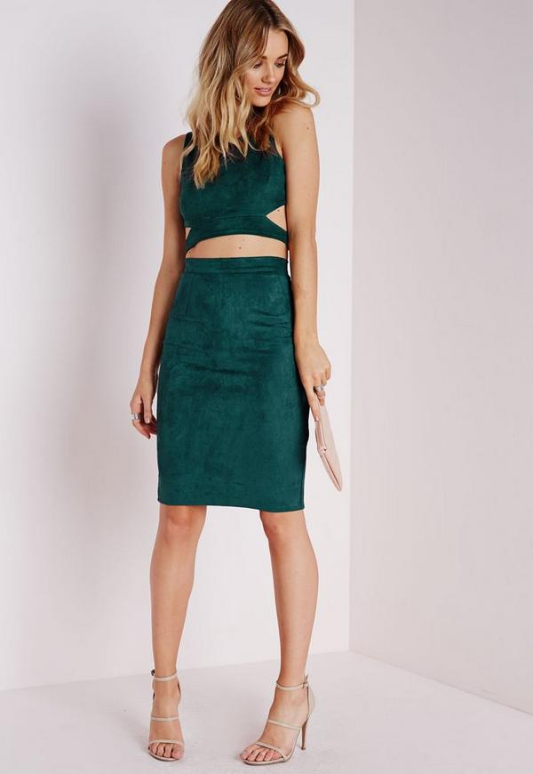 Berryana Faux Suede Midi Skirt Taupe   Missguided