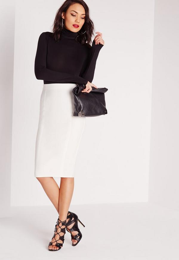 Seam Detail Crepe Midi Skirt White
