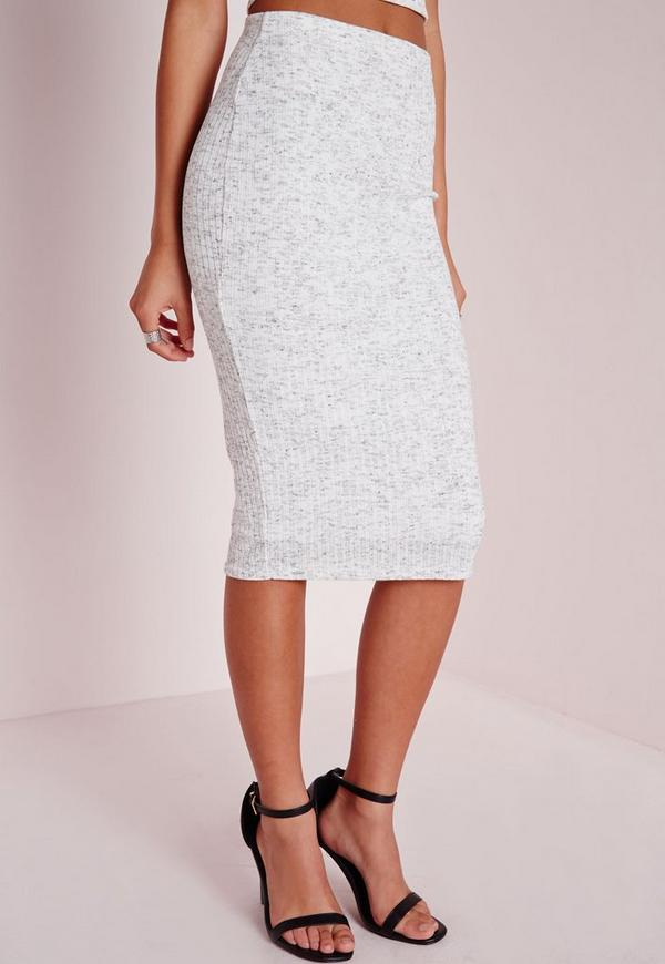 knitted ribbed midi skirt grey missguided