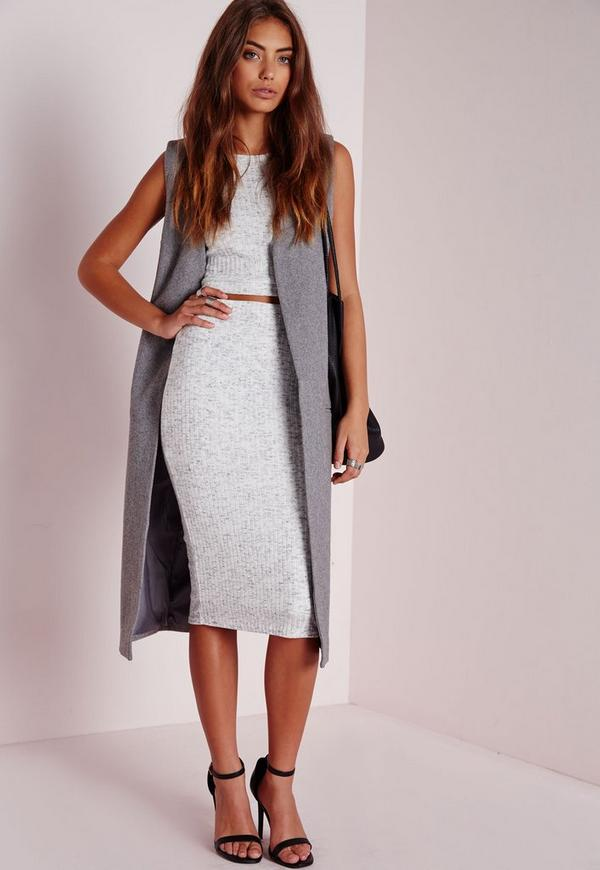 Knitted Ribbed Midi Skirt Grey - Midi - Skirts - Missguided