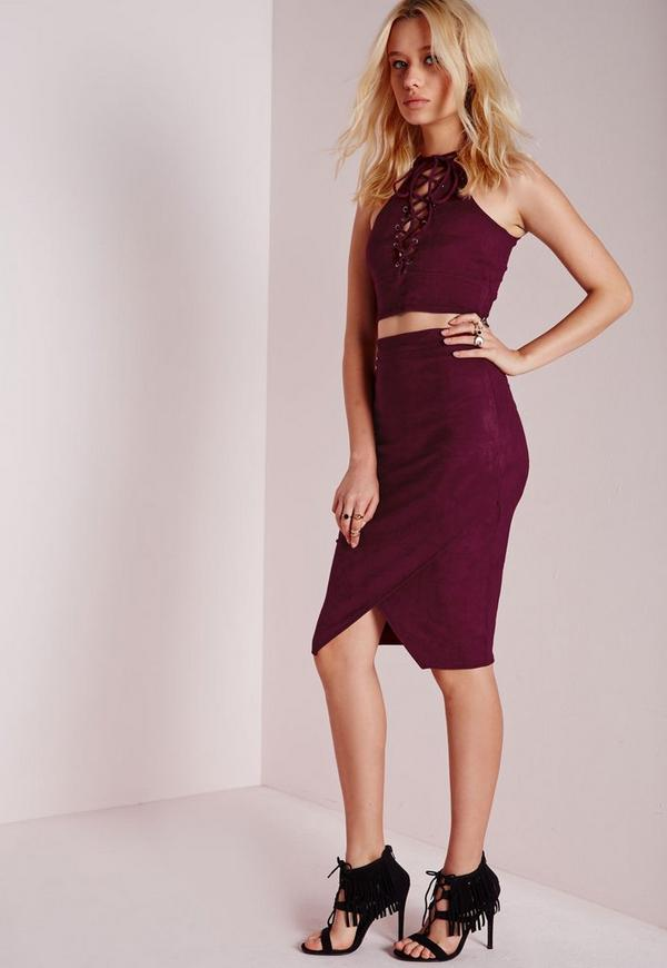 Wrap Over Faux Suede Midi Skirt Burgundy