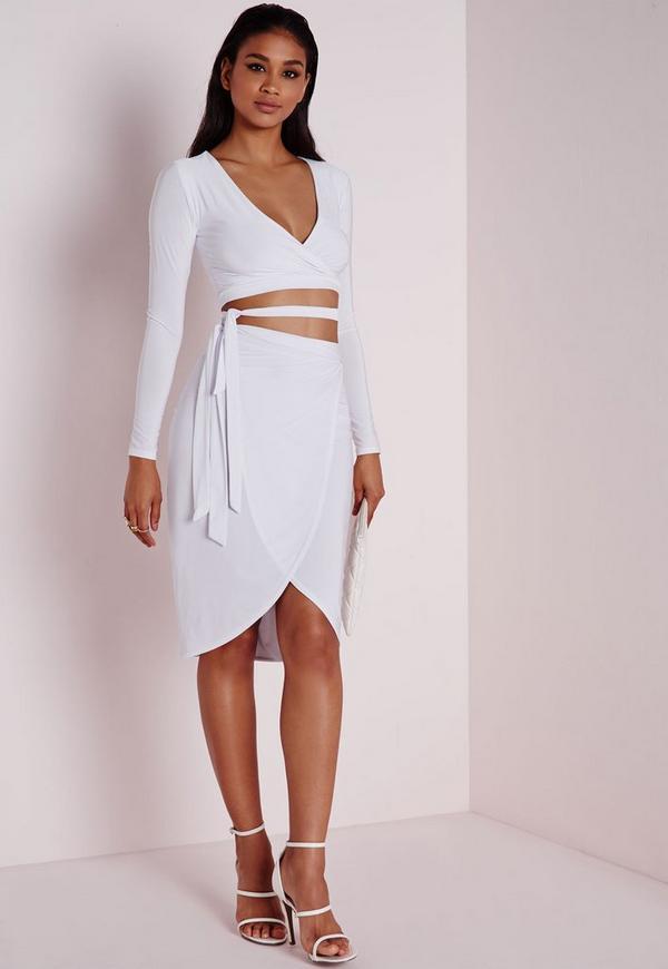 Slinky Tie Waist Midi Skirt White
