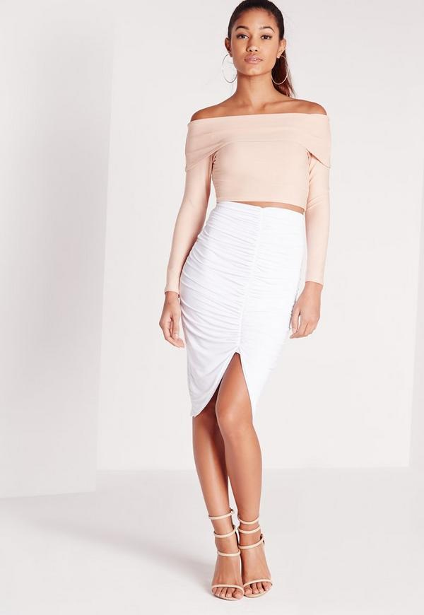 Slinky Ruched Front Midi Skirt White