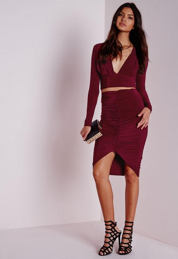 Slinky Ruched Front Midi Skirt Burgundy
