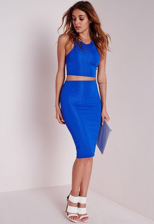 Jacquard Midi Skirt Cobalt Blue