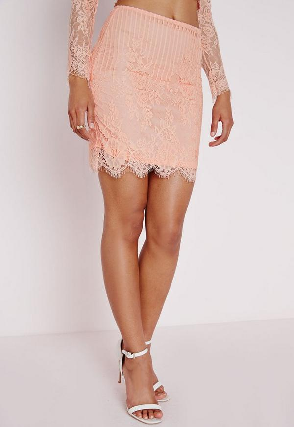 Lace Bodycon Mini Skirt Blush - Skirts - Mini Skirts - Missguided
