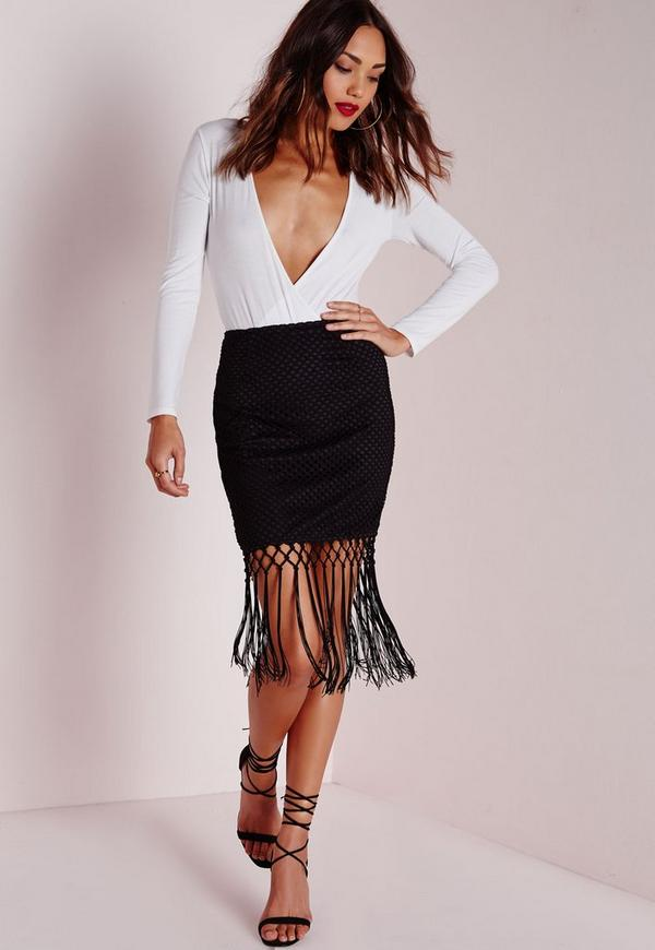 Fishnet Tassel Detail Midi Skirt Black