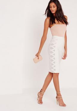 Premium Mesh Panel Side Midi Bandage Pencil Skirt White