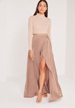 Satin Split Side Maxi Skirt Nude
