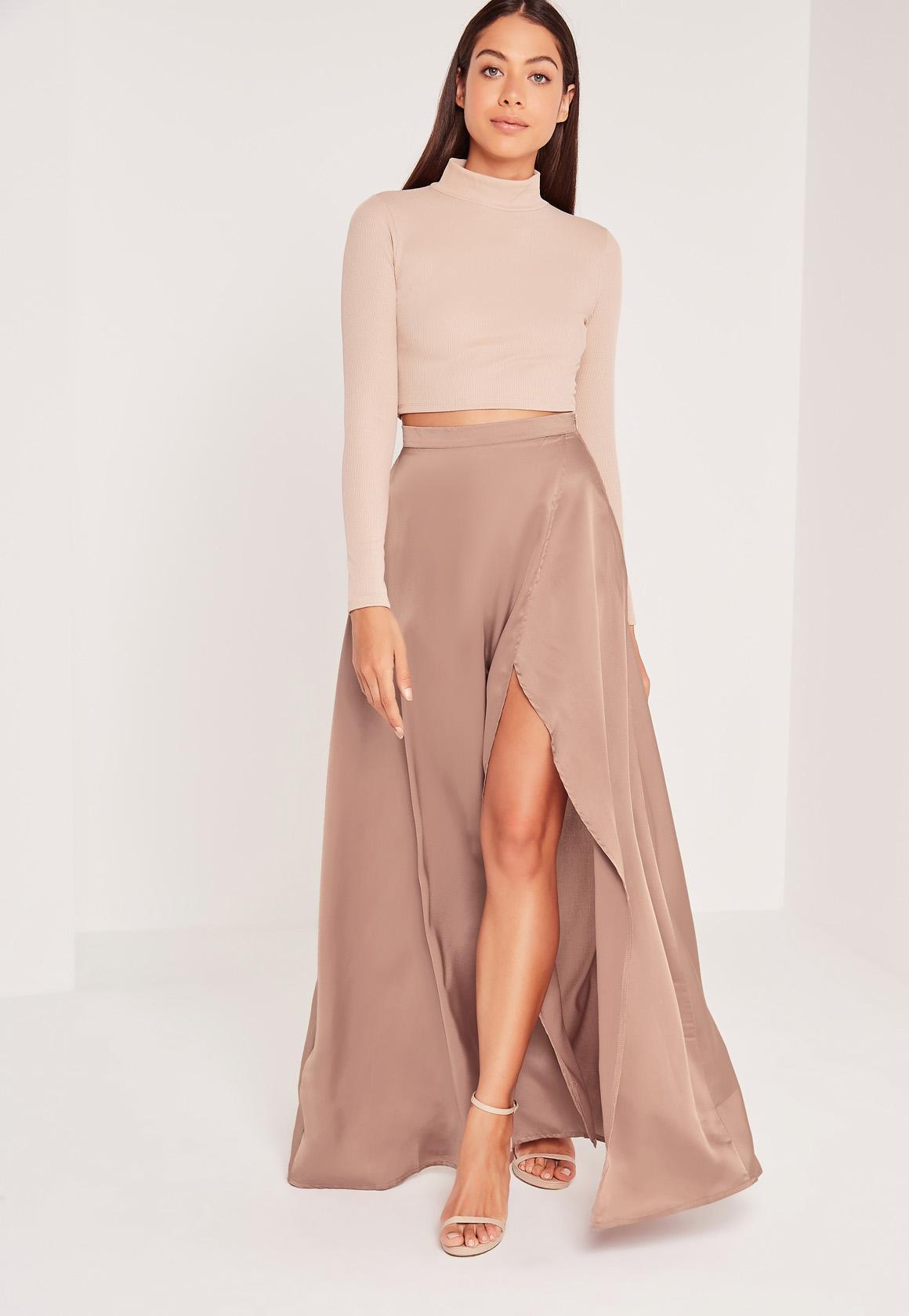 Satin Split Side Maxi Skirt Nude | Missguided