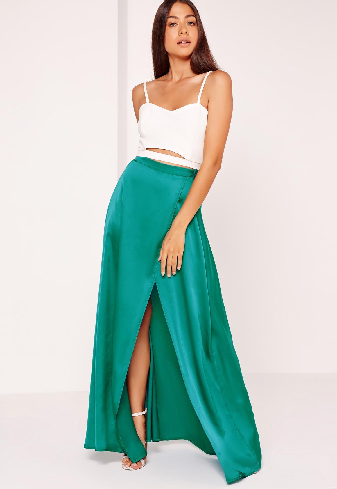 Satin Split Side Maxi Skirt Turquoise | Missguided