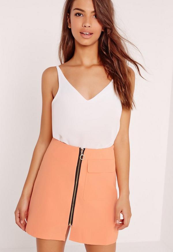 Crepe Zip Front Pocket Detail A Line Skirt Orange