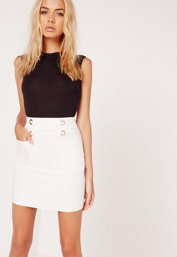 Eyelet Front Pocket Mini Skirt White