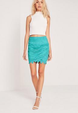 Mini-jupe en dentelle bleu turquoise